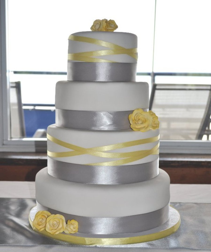 wedding cakes yellow and grey grey and yellow ribbon wedding cake cakecentral 26162