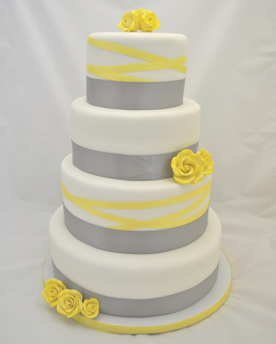 grey and yellow ribbon wedding cake. Black Bedroom Furniture Sets. Home Design Ideas
