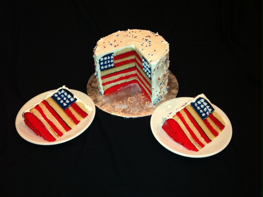 American Flag Cake Buttercream Stars Piped On Once Its Cut Tfl on Cake Central