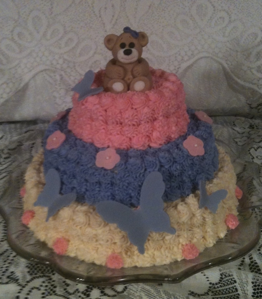 Bear & Butterflies  on Cake Central