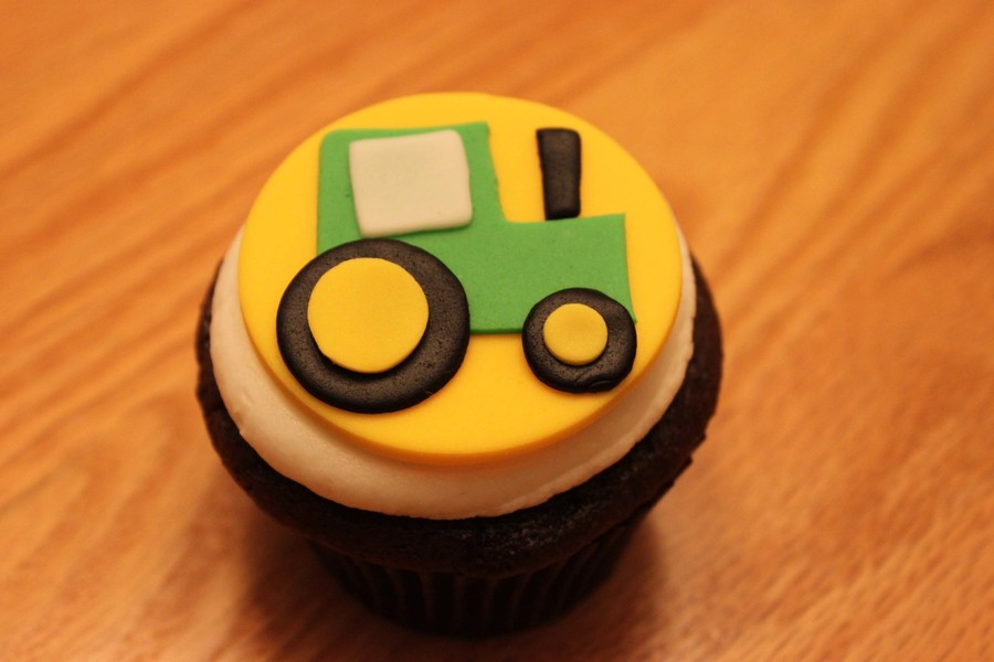 Tractor Cake Made Out Of Cupcakes