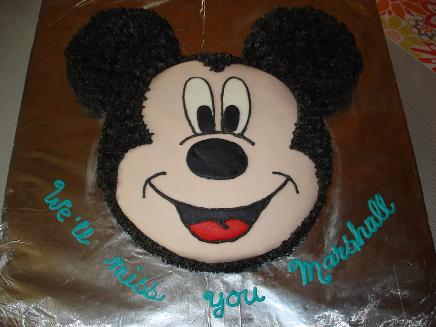 Mickey Mouse Cake Single Layer Round Covered The Large Cake On Thinly Rolled Out Fondant And Then Decorated With Butter Cream on Cake Central