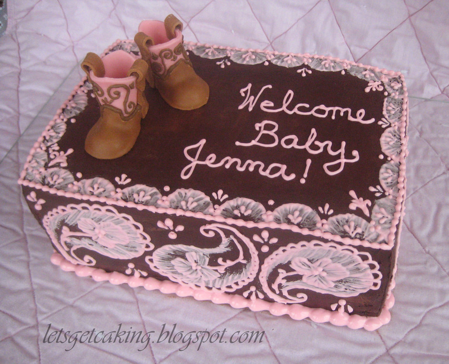 A Cake For My Friends Western Themed Baby Shower Its A Strawberry Cake Covered In Chocolate Ganache I Used The Brush Embroidery Techniqu on Cake Central