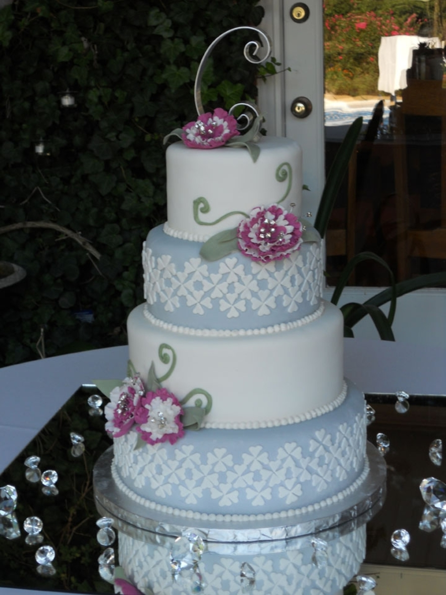 Gray And White Wedding Cake on Cake Central