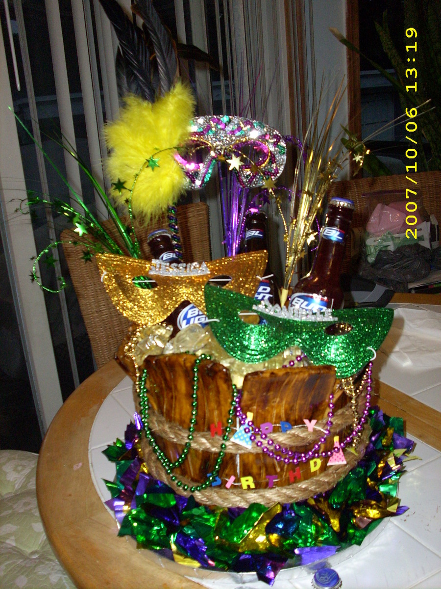 Happy Birthday Mardi-Gras Beer Cake on Cake Central