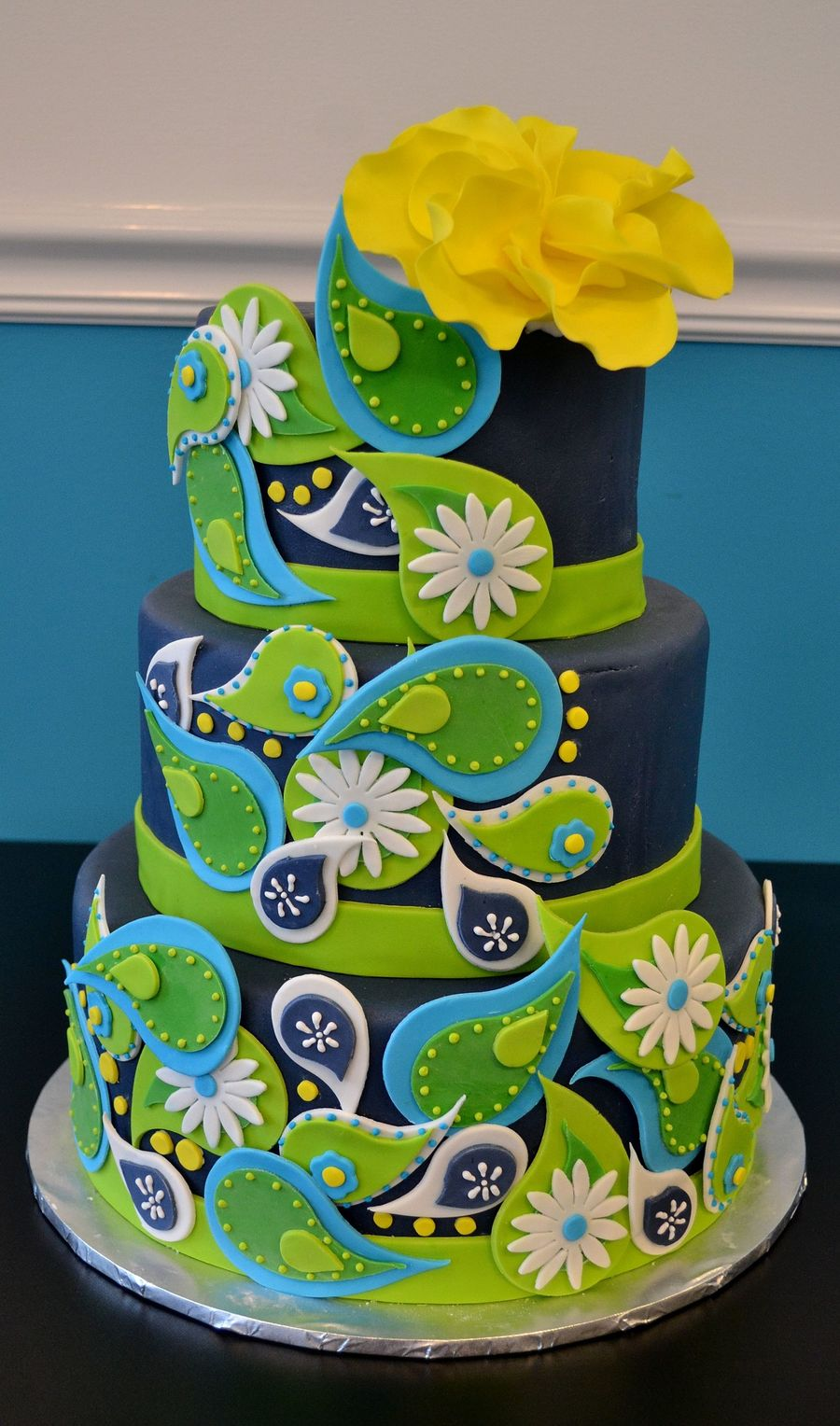 Amazing Cake Designs Easy : Paisley Cake Dummy Cake Covered In Fondant And Accented ...