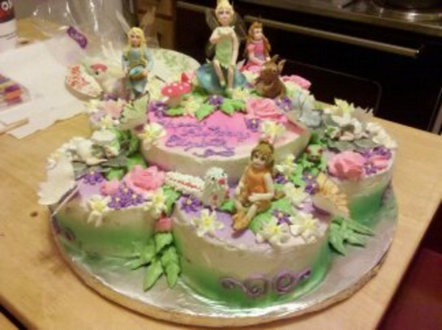 Tinker Bell Cake With Gum Paste Characters Butter Cream