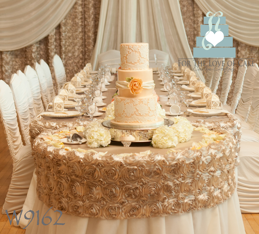 wedding cake peach color lace wedding cake cakecentral 23394