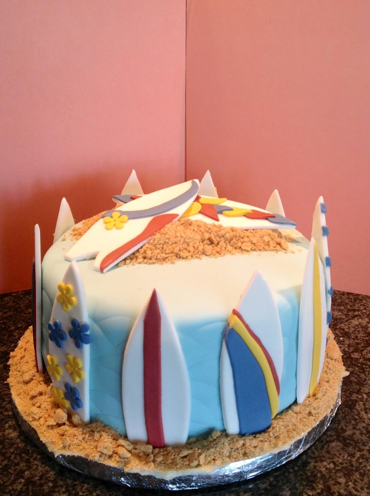 Cake Decorating Making Sand : Surfboard Cake - CakeCentral.com