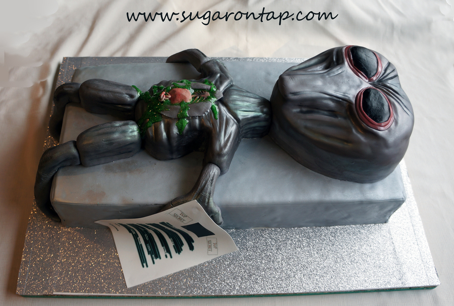 Alien Autopsy Cake For A Local Business The Alien Head Is Based On A Picture They Provided To Me Everything Is Edible Head Body Forear  on Cake Central