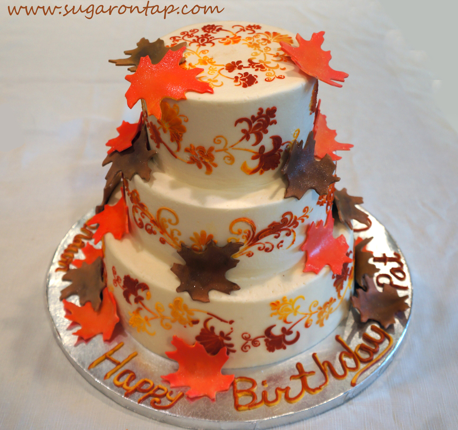 Fall Birthday Cake Leaves