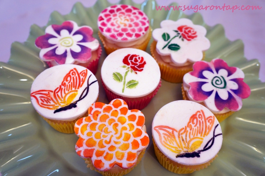Stenciled Cupcakes on Cake Central