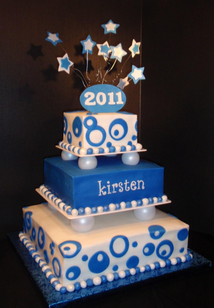 Blue Amp White Graduation Cake Cakecentral Com