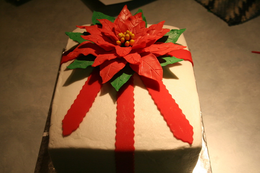 Christmas Package, Poinsettia on Cake Central