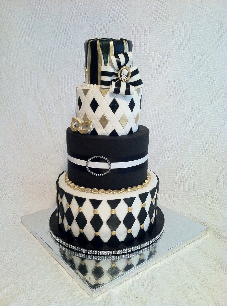 Harlequin Halloween Party Cake - CakeCentral.com