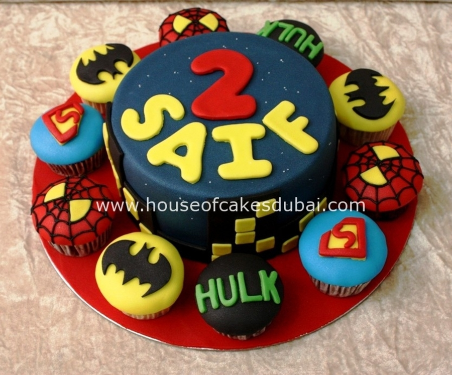Superheroes Cake And Cupcakes on Cake Central
