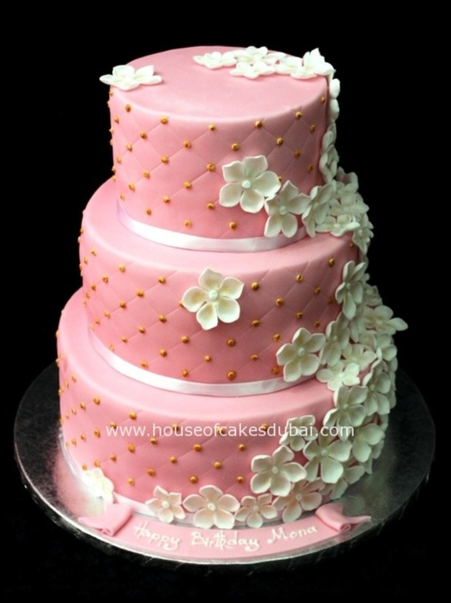 Wedding Cake In Piink And White on Cake Central