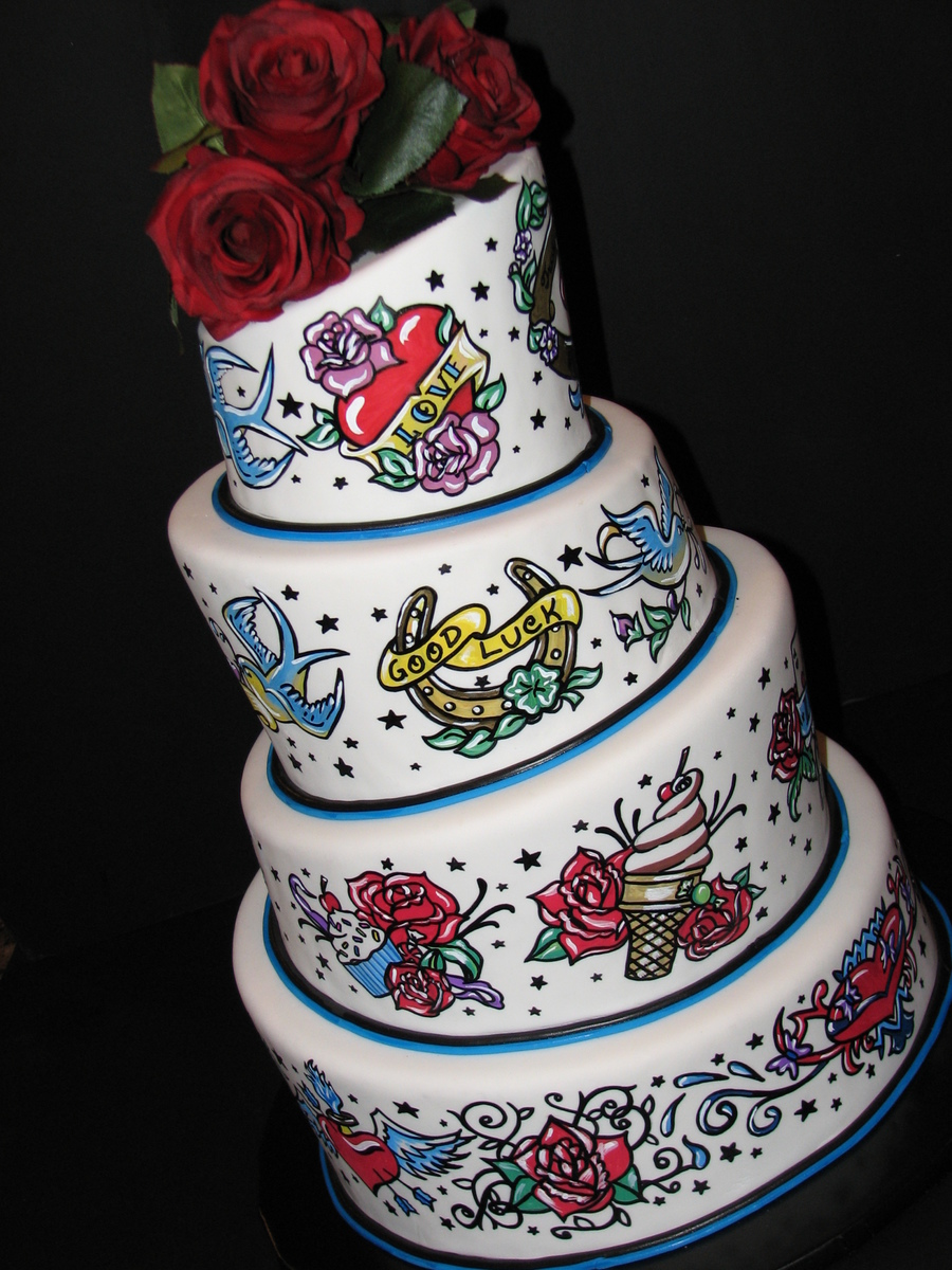 1950 S Tattoo Themed Wedding Cake Cakecentral Com