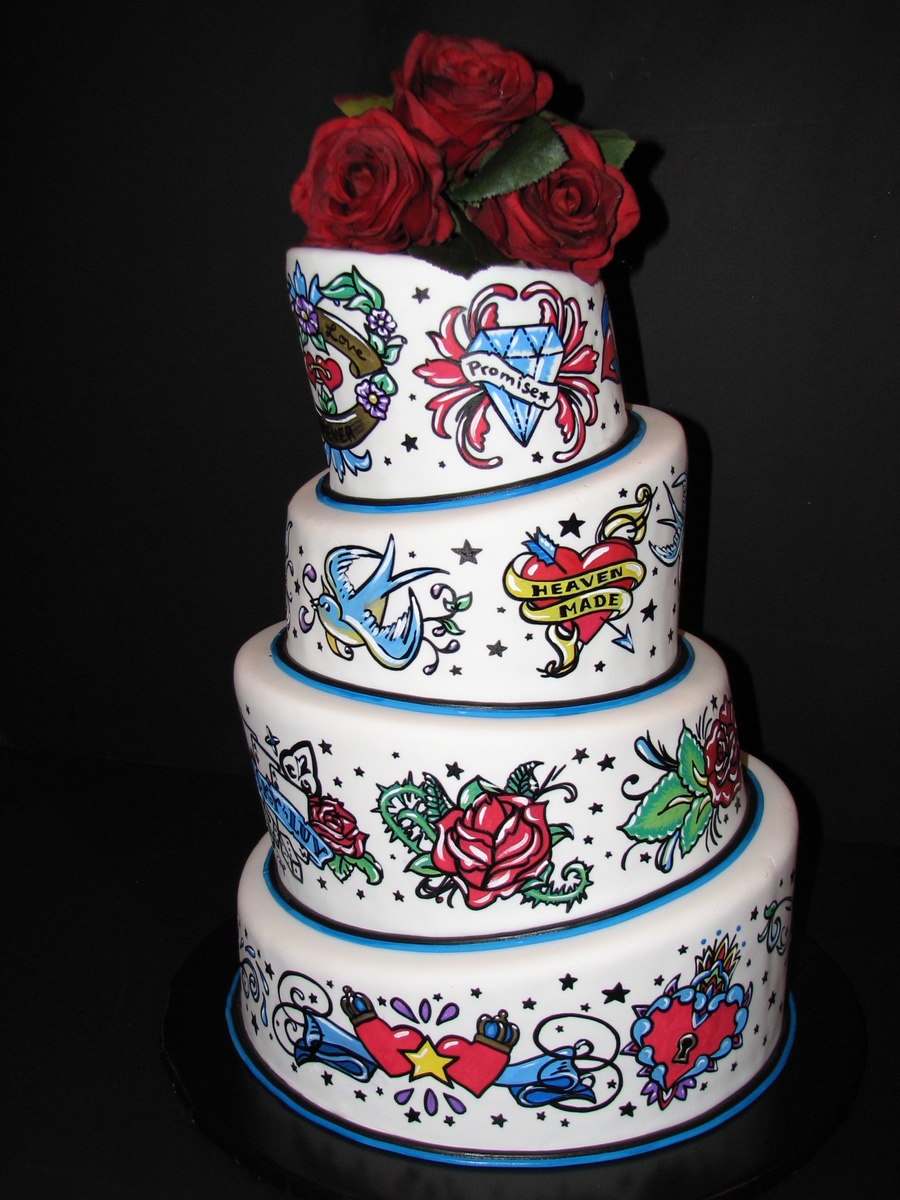 Tattoo Themed Wedding Cakes