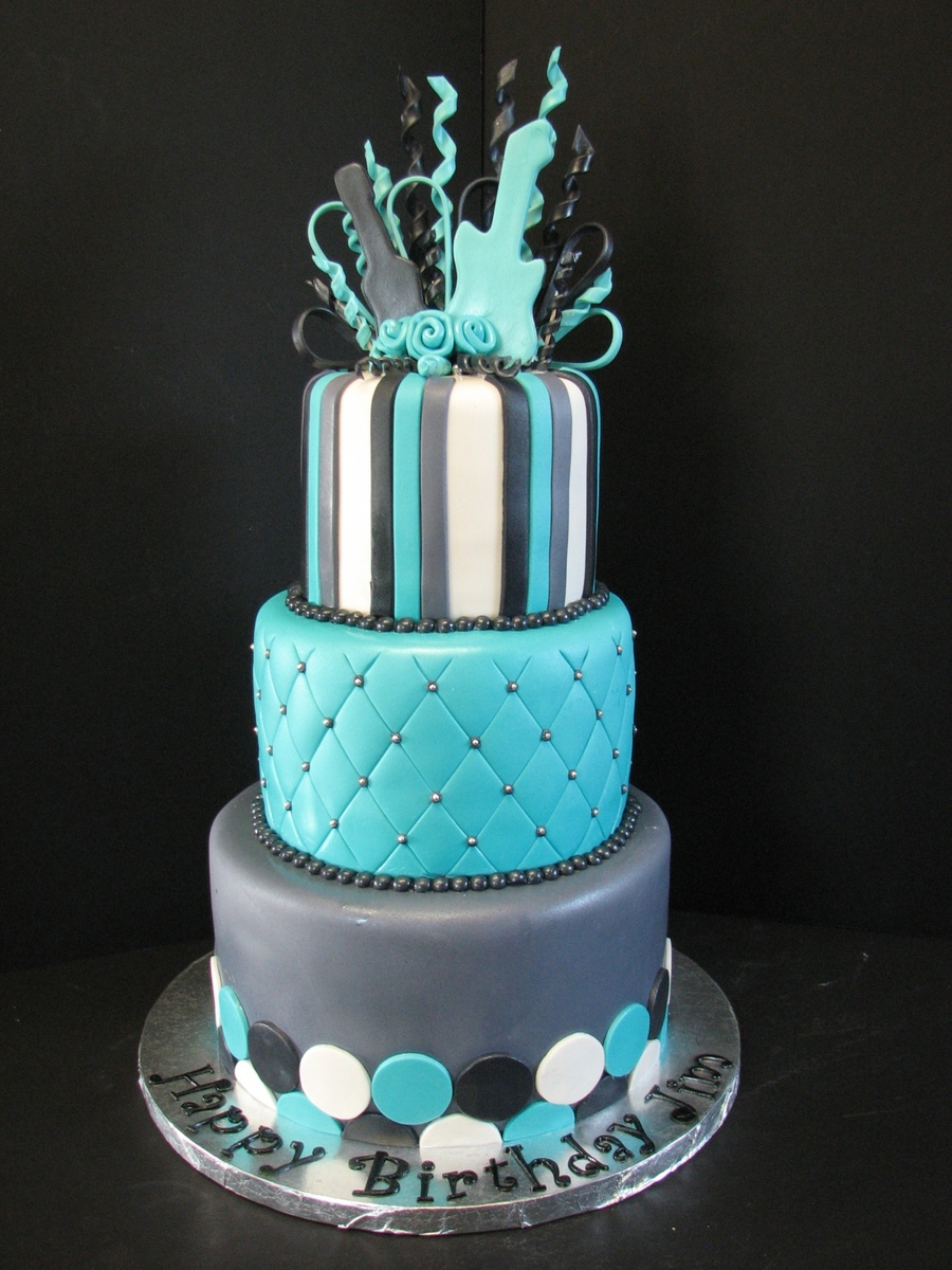 Teal Black And Gray Birthday Cake Cakecentral Com