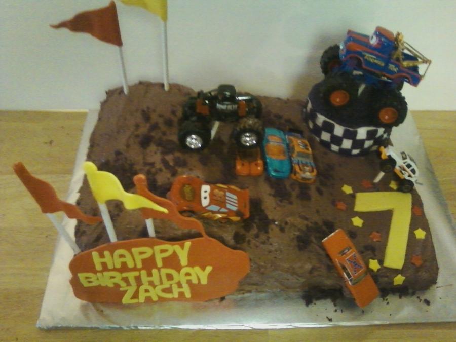 Peachy Monster Truck Birthday Cake Cakecentral Com Personalised Birthday Cards Sponlily Jamesorg
