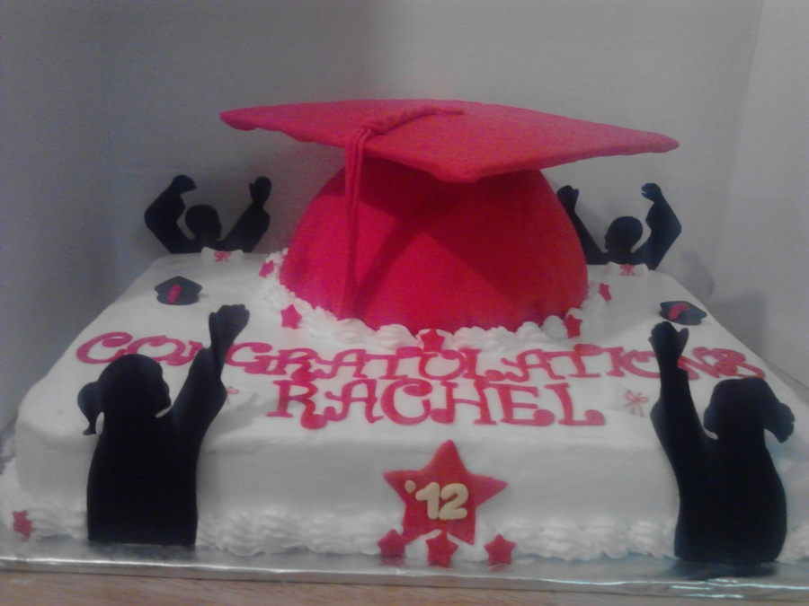 Half Sheet Cake With Wilton Doll Dress Panmold On Top Mostly Buttercream And Fondant Covered Grad Hat Fondant People And Accents  on Cake Central
