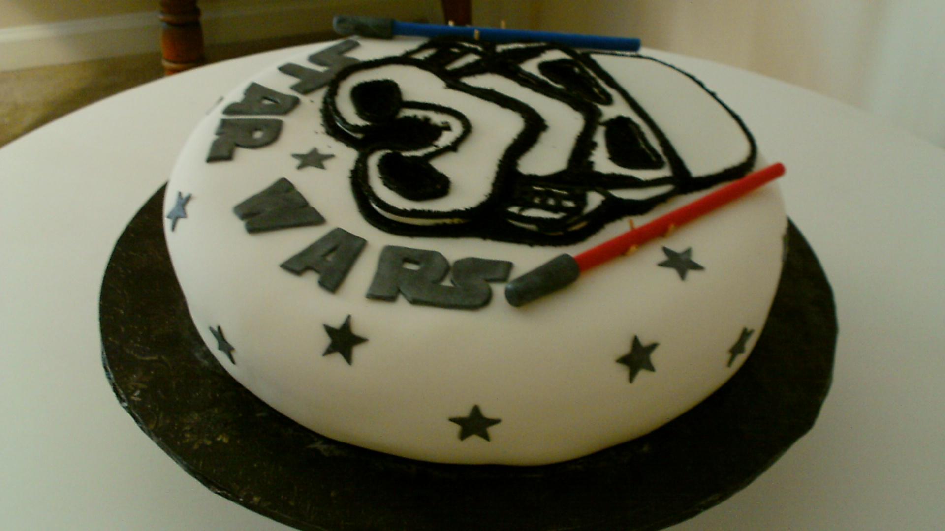 Phenomenal Star Wars Theme Birthday Cake With A Stormtrooper Mask With Light Personalised Birthday Cards Vishlily Jamesorg
