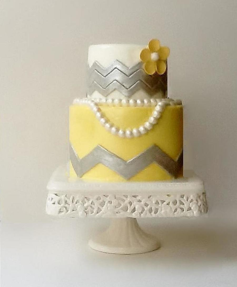 Chevron And Pearl Bridal Shower Cake - CakeCentral.com