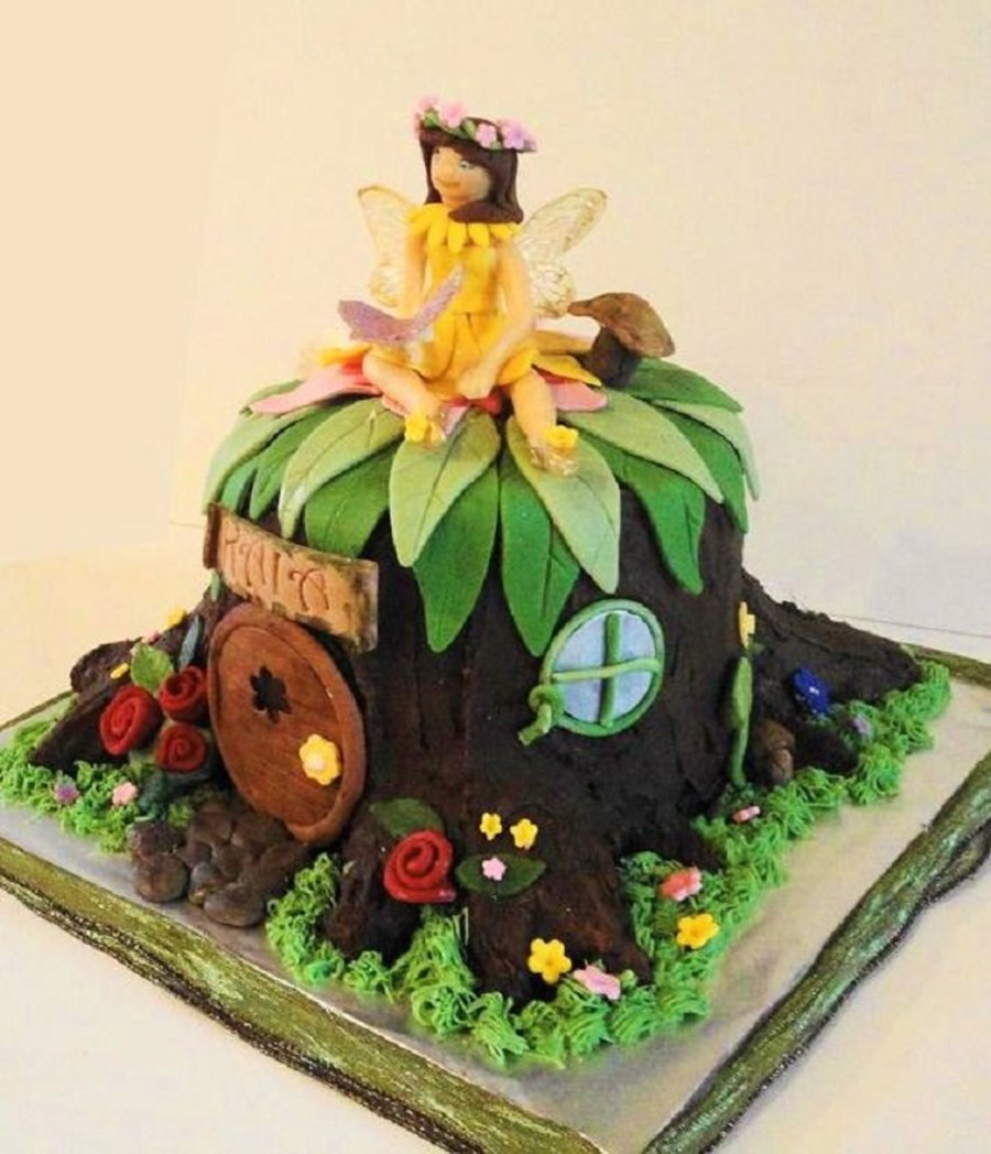 Fairy Cake With Tree Trunk House Cakecentral