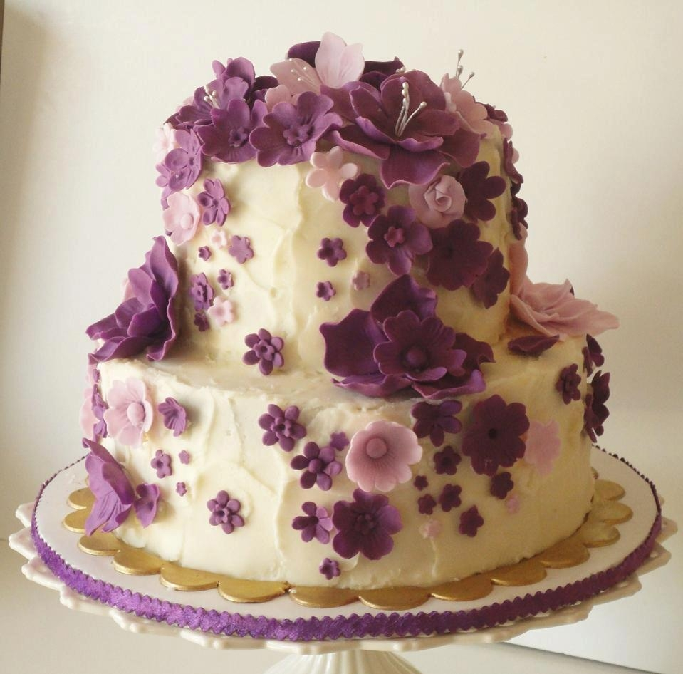 Pictures of birthday flowers and chocolate cake kidskunstfo cascading purple flowers birthday cake cakecentral izmirmasajfo