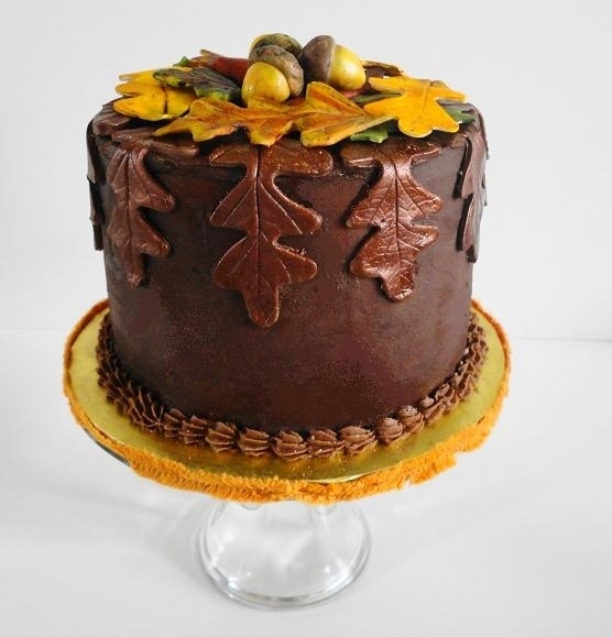 Leaf And Acorn Birthday Cake
