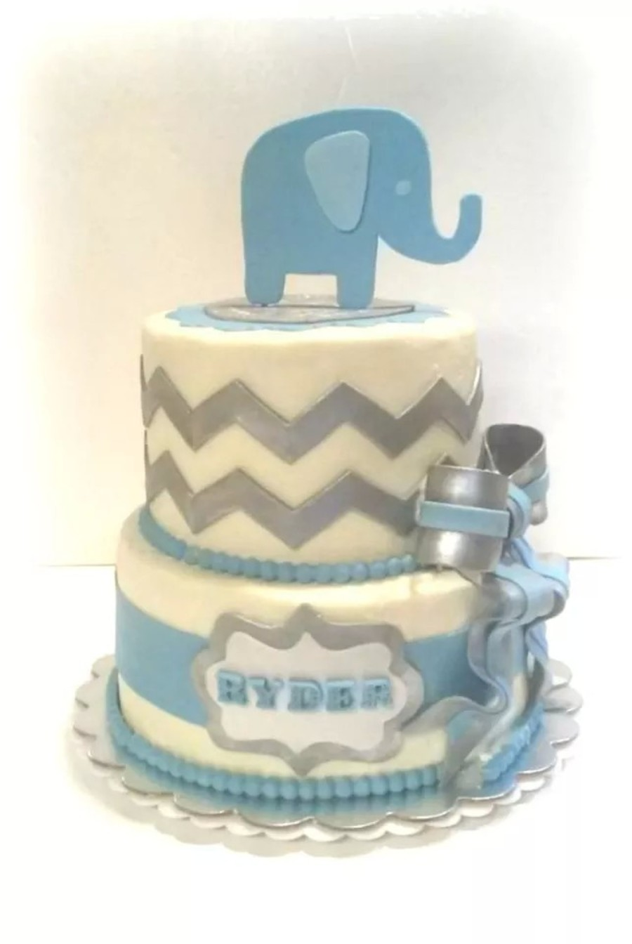 Elephant And Chevron Baby Shower Cake For Boy On Cake Central