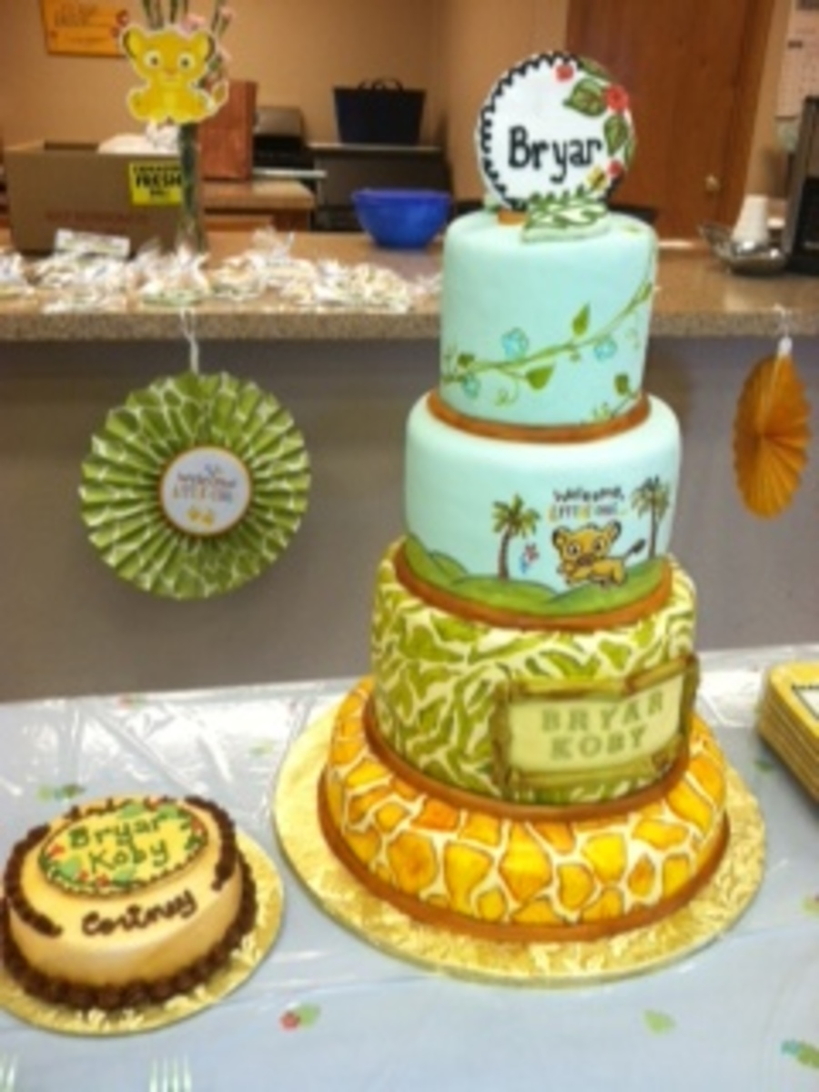 King Cake Decorating Kit : Hand Painted Lion King Baby Shower Cake & Matching ...