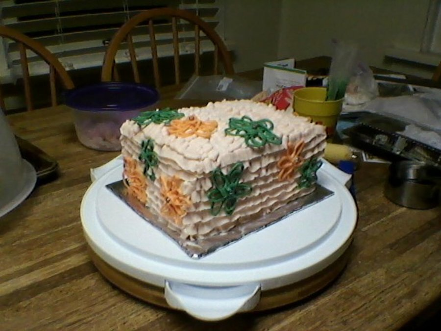 Small Birthday Cake For Friends Gathering 4 Layer White With Alternating Fillings Of Raspberry Preserves