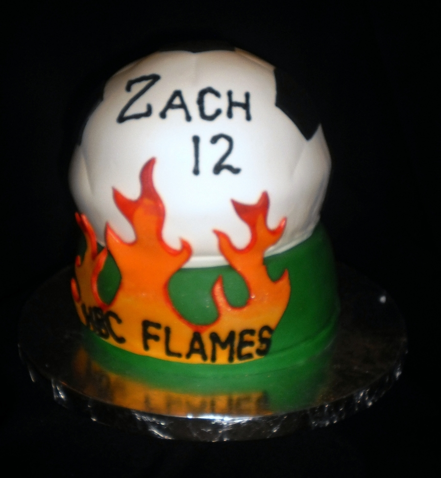 Soccer Team Cake With Flames on Cake Central