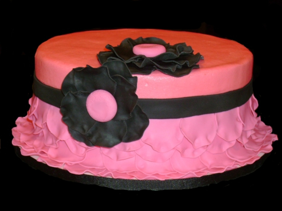 Hot Pink And Black  on Cake Central