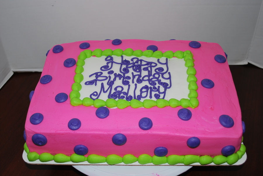 Pink, Purple, Lime Green 1/4 Sheet Cake on Cake Central
