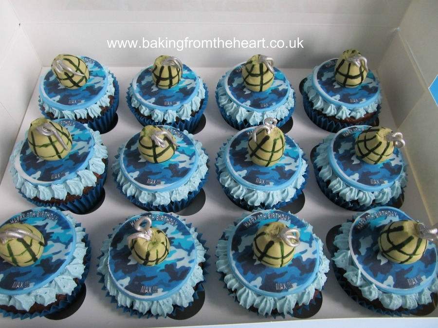 Cupcakes With Camo Edible Print And Fondant Grenades on Cake Central