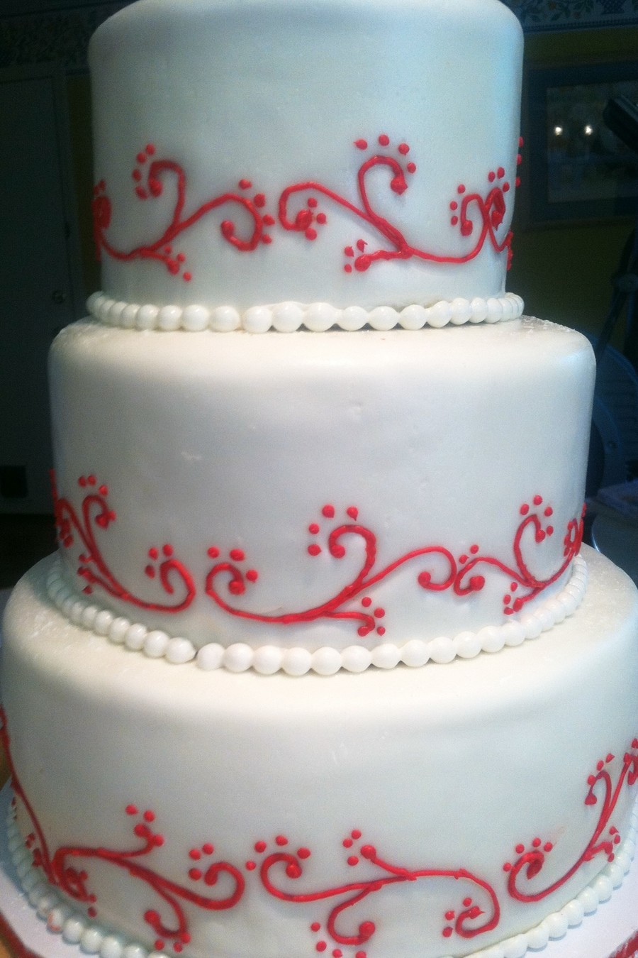 Red Scroll Wedding on Cake Central