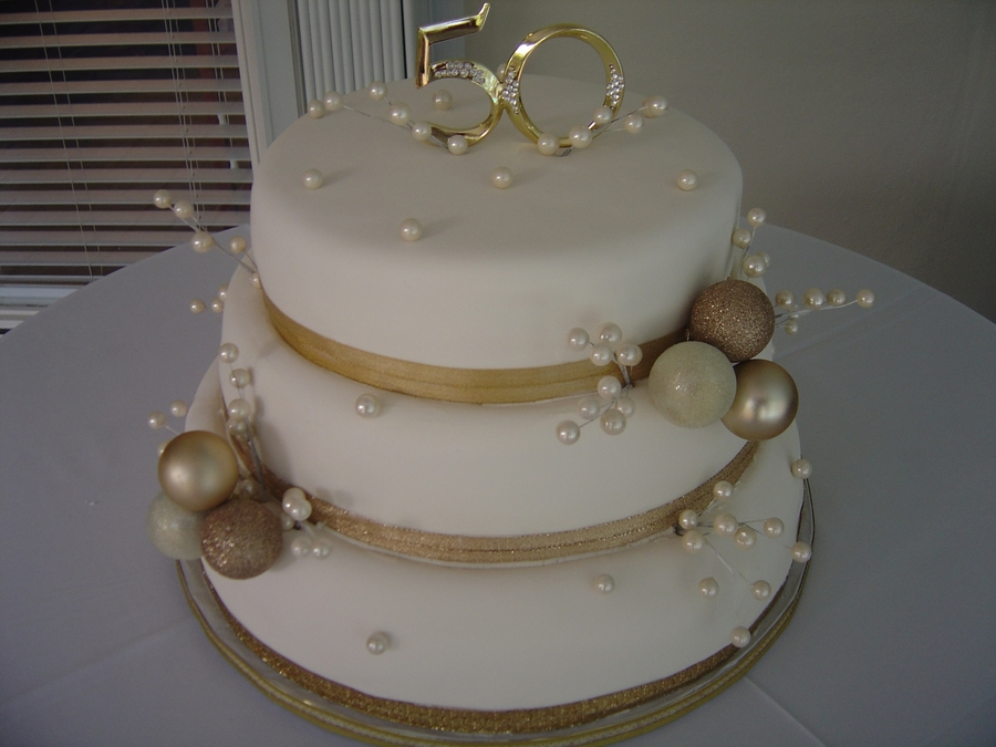 Golden 50Th Wedding Anniversary Cake on Cake Central