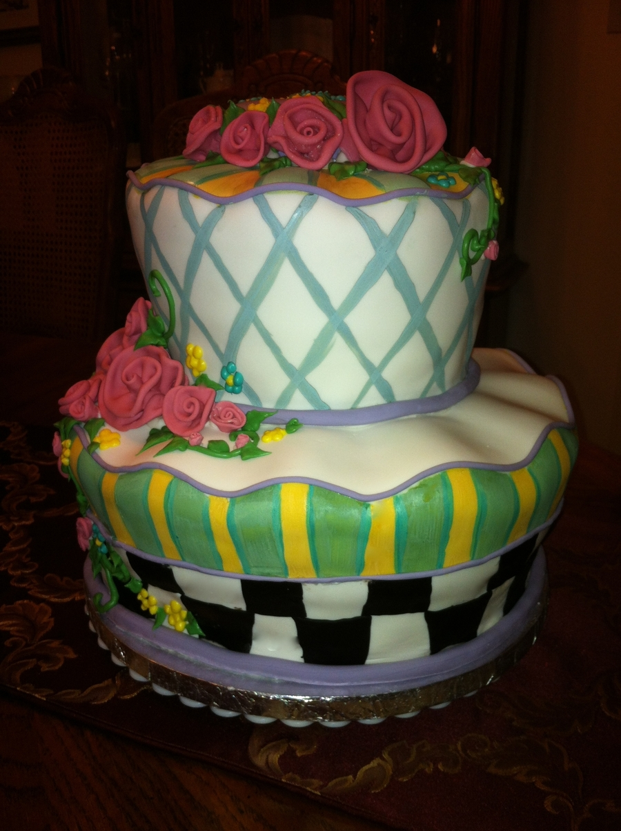Hand Painted To Replicate Mackenzie Cake Stand on Cake Central