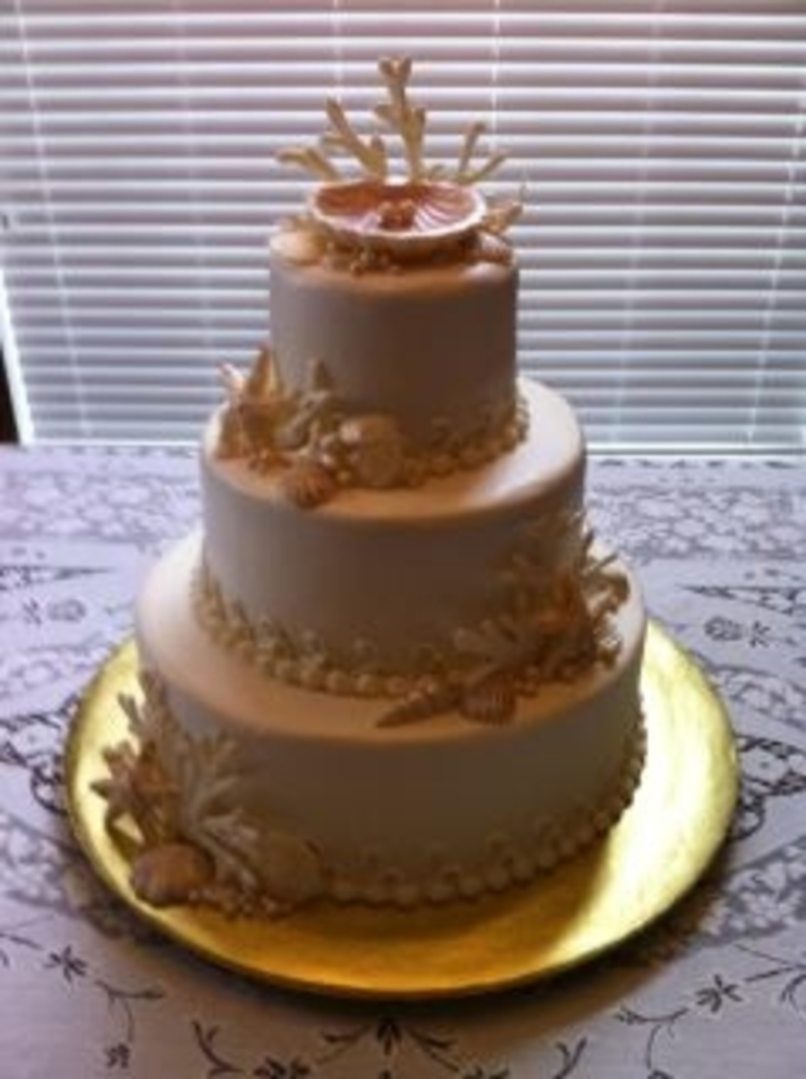 Sea Shell Wedding Cake on Cake Central