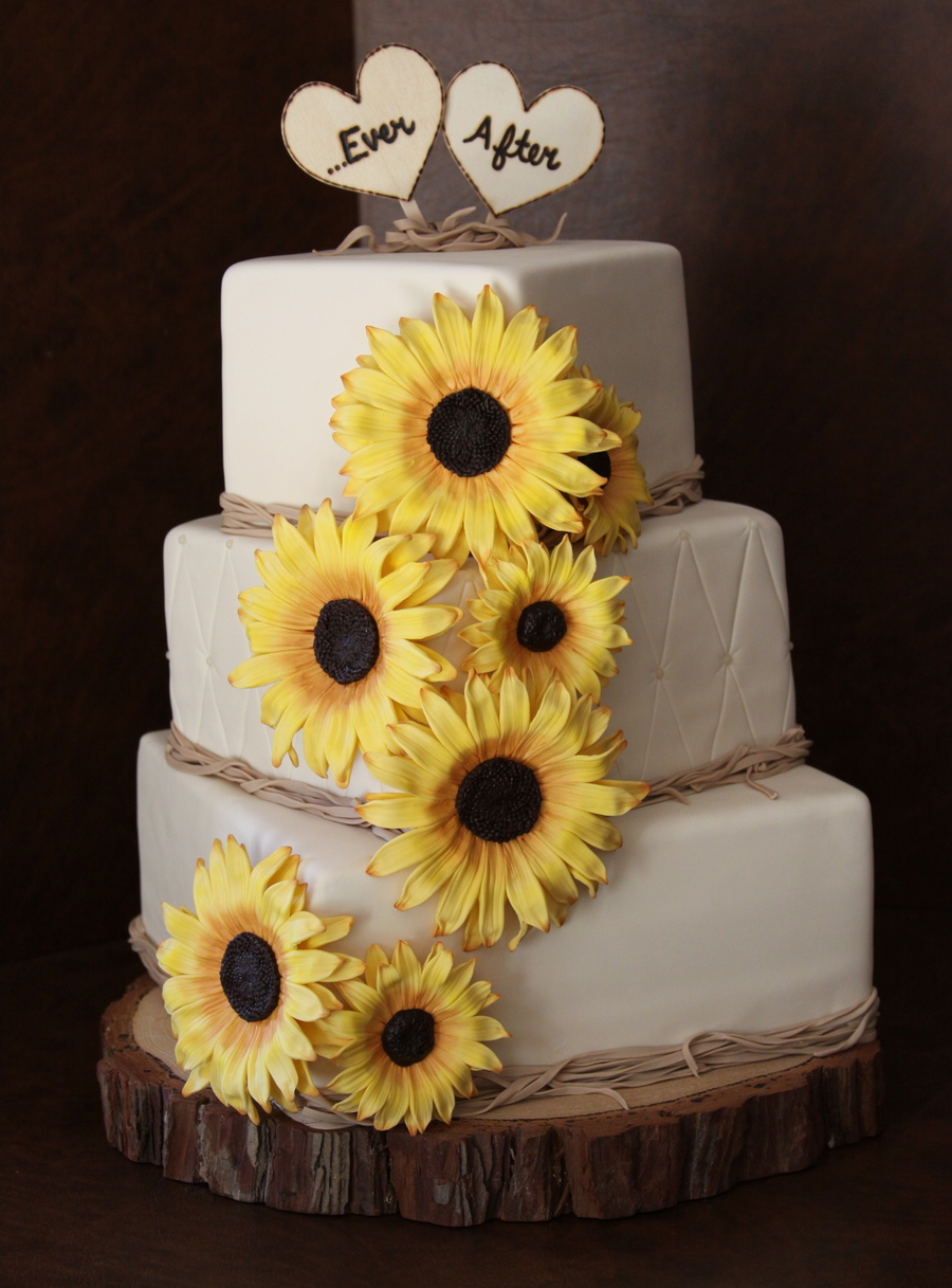 Decorating With Raffia Sunflower Wedding Cake Cakecentralcom