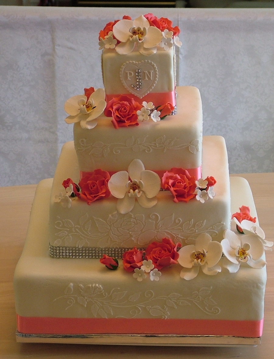 Square 4 Tier Wedding Cake on Cake Central