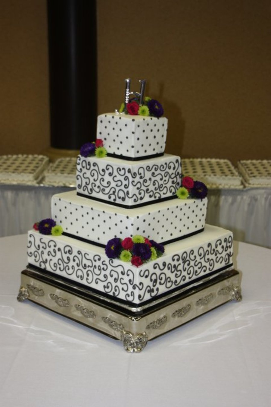 Charcoal Gray And Eggplant Wedding Cake on Cake Central