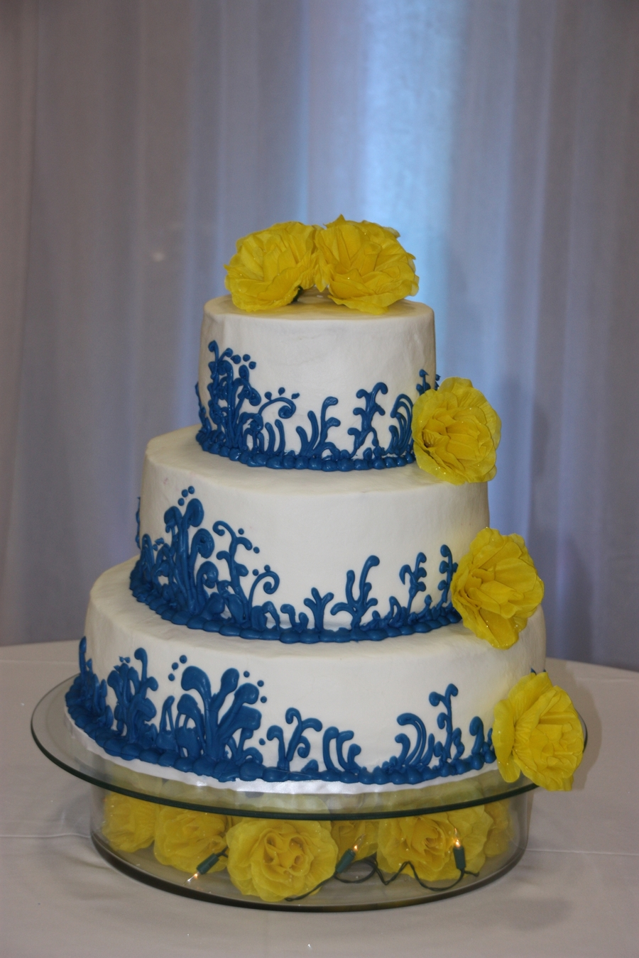 blue and yellow wedding cake ideas blue and yellow wedding cake cakecentral 11969