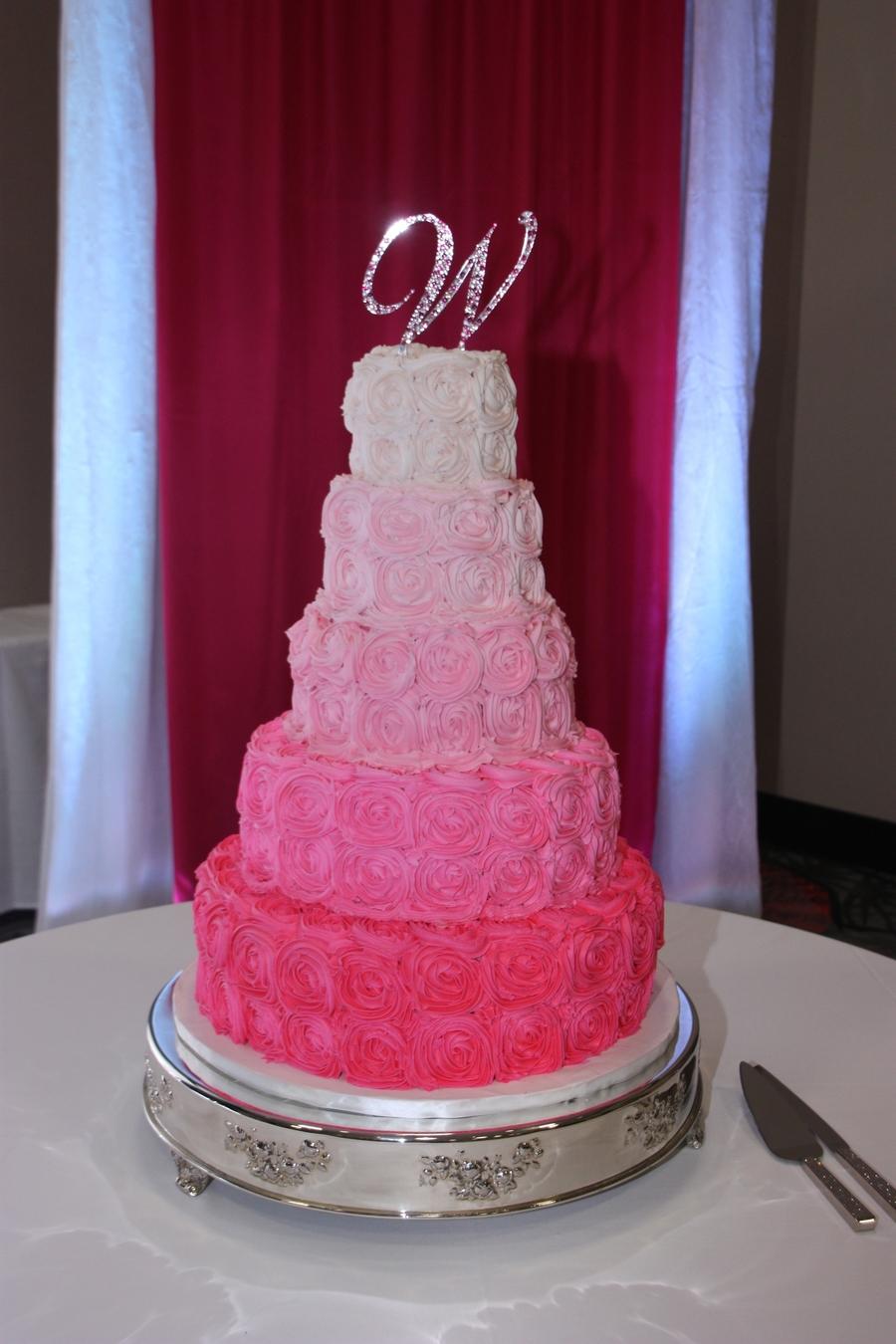 Pink Rosette Wedding Cake - CakeCentral.com