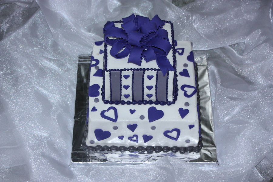 Purple And Pewter Gray Bridal Shower Cake on Cake Central