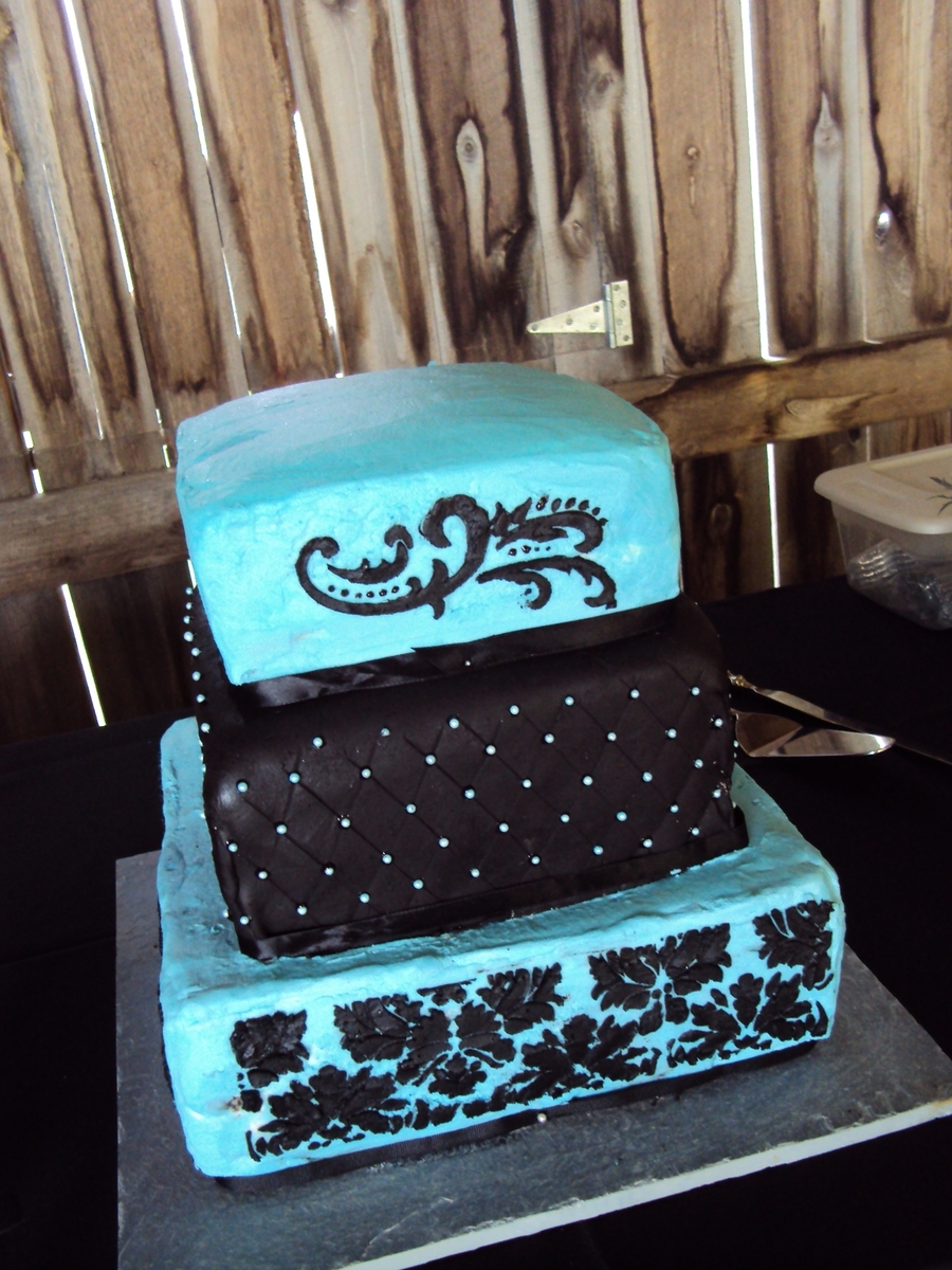 Square Blue & Black Damask Wedding Cake on Cake Central