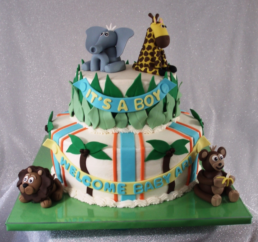 Jungle Themed Baby Shower  on Cake Central